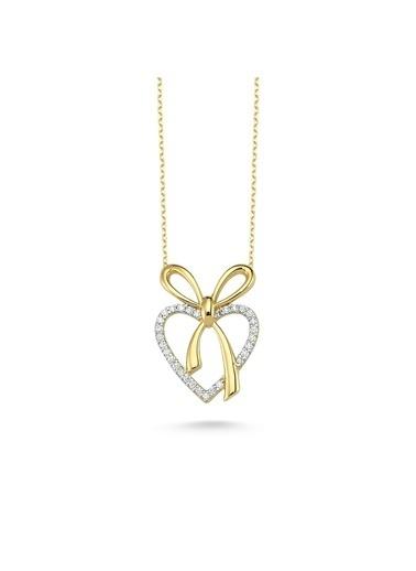 Online Takı 925 Ayar Gold Renkli Kalpli Fiyonk Kolye Renkli